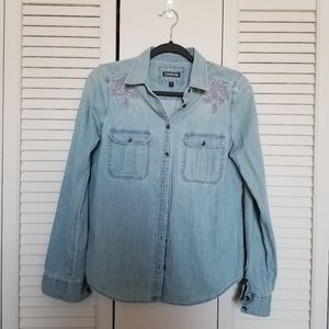 Light wash denim chambray shirt with embroidery